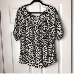 WHBM silk animal print bow blouse/top